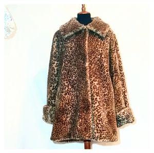 Vtg MITSU made on england faux fur swing coat